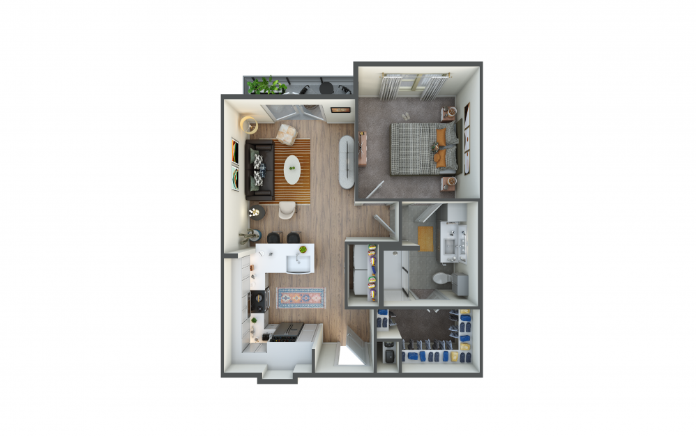 A1 - 1 bedroom floorplan layout with 1 bath and 662 square feet.