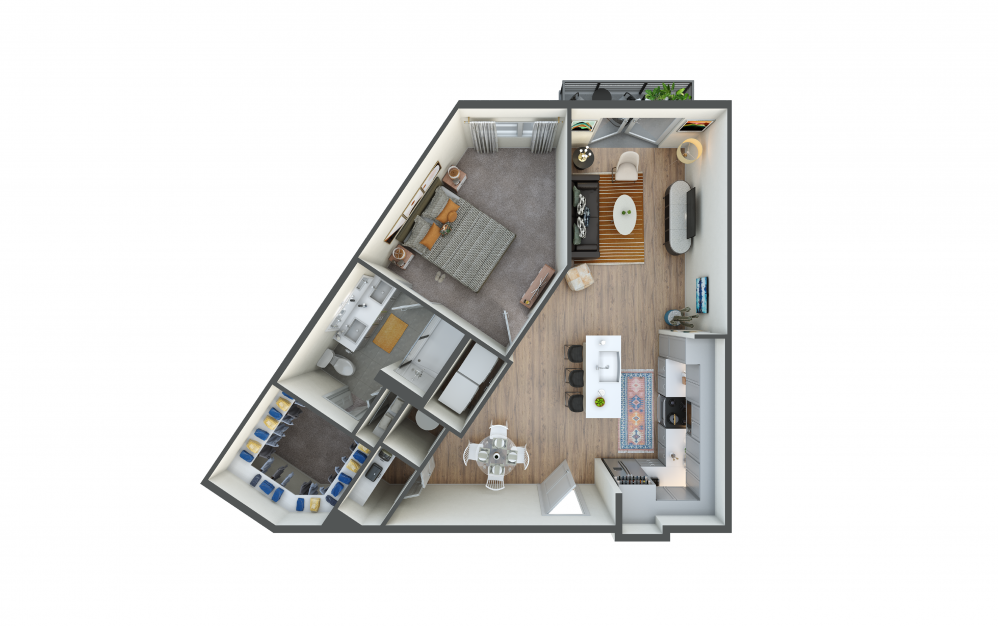 A5 - 1 bedroom floorplan layout with 1 bath and 809 square feet.