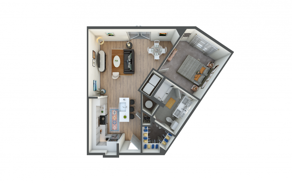 A6 - 1 bedroom floorplan layout with 1 bath and 786 square feet.