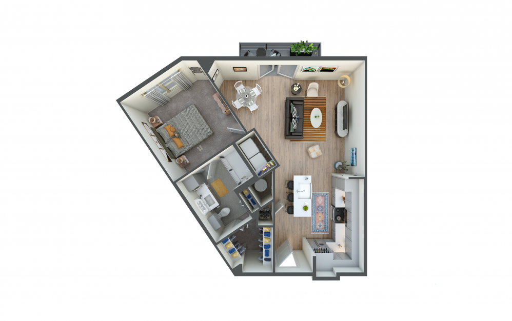 A7 - 1 bedroom floorplan layout with 1 bath and 795 square feet.