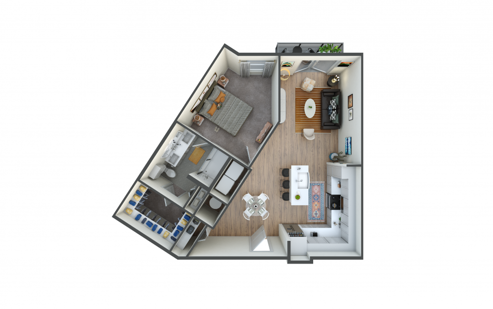 A8 - 1 bedroom floorplan layout with 1 bath and 826 square feet.