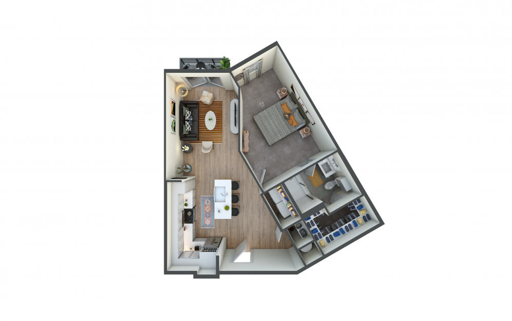 A9 - 1 bedroom floorplan layout with 1 bath and 739 square feet.